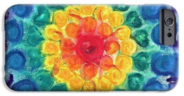Third Eye Paintings iPhone Cases - Joyful Chakra iPhone Case by Christine Kfoury