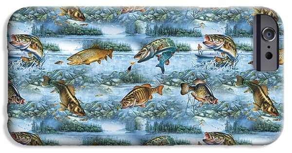Musky Paintings iPhone Cases - JQ Lake Fish bedding pillow iPhone Case by Jon Q Wright