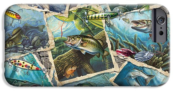 Musky Paintings iPhone Cases - JQs Fishing Collage iPhone Case by Jon Q Wright