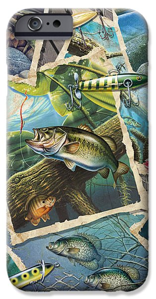 JQ's Fishing Collage iPhone Case by Jon Q Wright