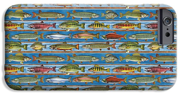 Musky Paintings iPhone Cases - JQW Fish Row Bedding iPhone Case by Jon Q Wright