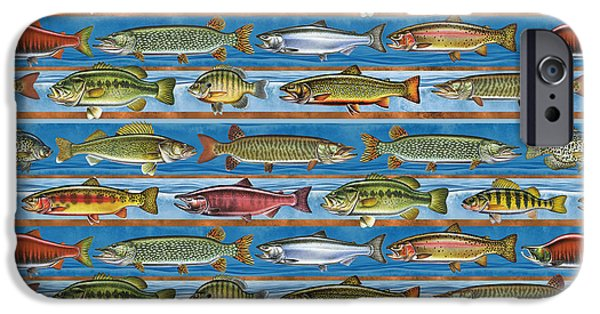 Musky Paintings iPhone Cases - JQW Fish Row Pillow iPhone Case by Jon Q Wright