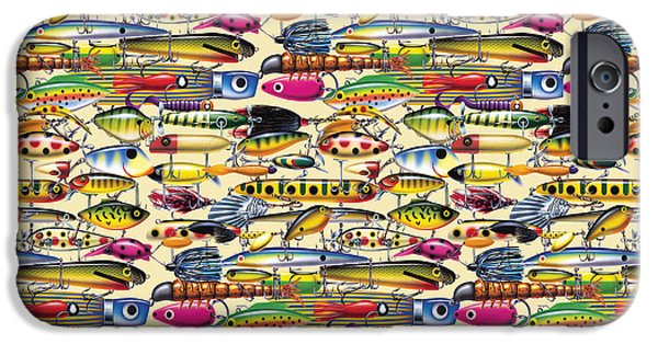 Musky Paintings iPhone Cases - JQW Lures Pillow art iPhone Case by Jon Q Wright