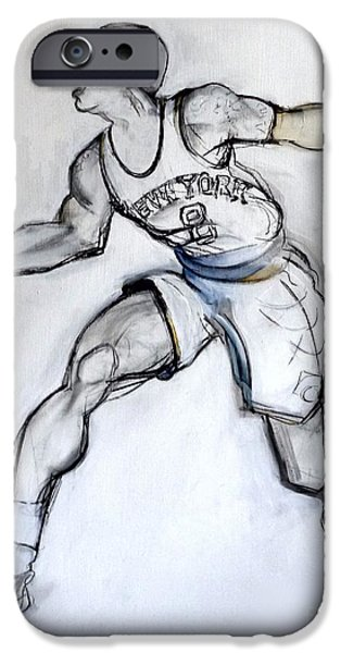 Knicks iPhone Cases - JR - basketball iPhone Case by Carolyn Weltman
