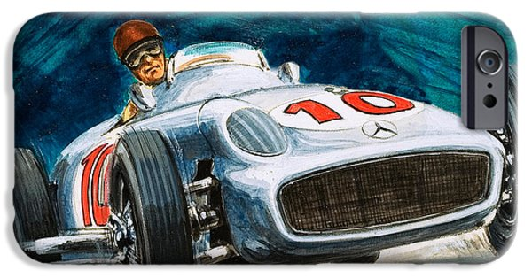 Transportation Drawings iPhone Cases - Juan Manuel Fangio driving a Mercedes-Benz iPhone Case by English School