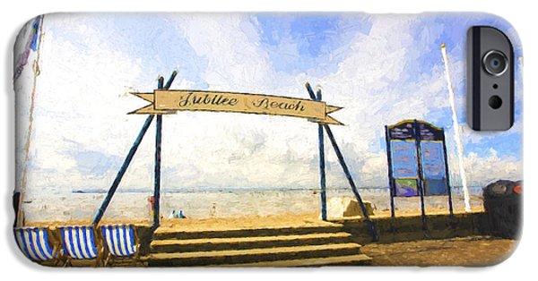 Jubilee Digital iPhone Cases - Jubilee Beach Southend On Sea iPhone Case by Sheila Smart
