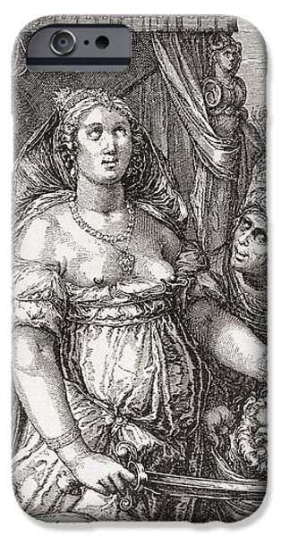 Seventeenth Century iPhone Cases - Judith Beheading The Assyrian General Holofernes.  Symbolic Representation Of The Power Of Woman iPhone Case by Bridgeman Images