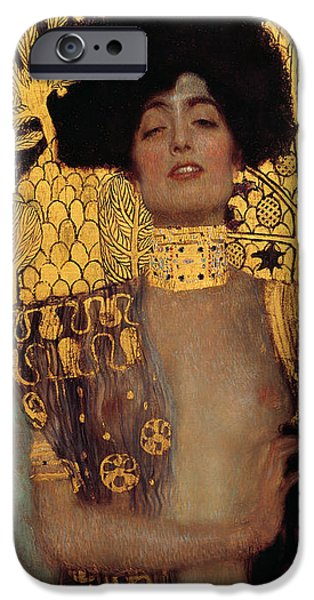 Woman In A Dress iPhone Cases - Judith iPhone Case by Gustive Klimt