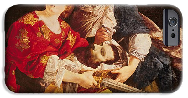 Old Testament iPhone Cases - Judith With The Head Of Holofernes Oil On Canvas iPhone Case by Orazio Gentileschi