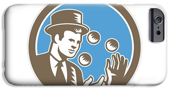 Juggling iPhone Cases - Juggler Juggling Balls Circle Woodcut iPhone Case by Aloysius Patrimonio