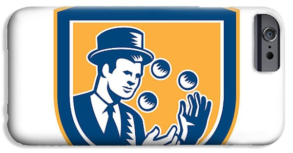 Juggling iPhone Cases - Juggler Juggling Balls Shield Woodcut iPhone Case by Aloysius Patrimonio
