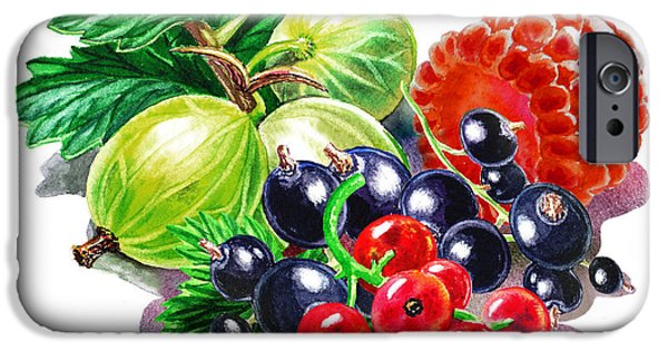 Electronic Paintings iPhone Cases - Juicy Berry Mix  iPhone Case by Irina Sztukowski