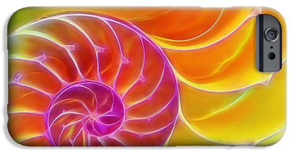 Green Surreal Geometric iPhone Cases - Juicy Spiral iPhone Case by Gill Billington