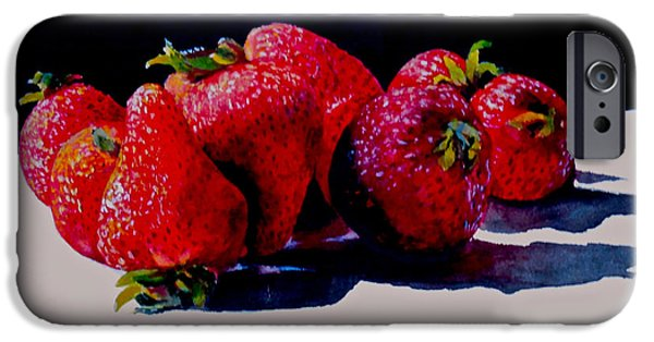 Berry iPhone Cases - Juicy Strawberries iPhone Case by Sher Nasser