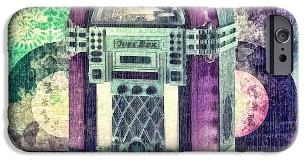Sound Mixed Media iPhone Cases - Juke Box iPhone Case by Mo T