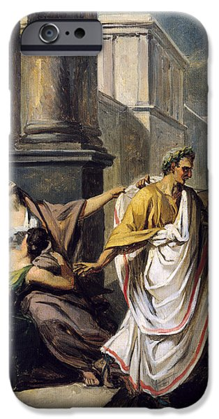 Murder iPhone Cases - Julius Caesar 100-44 Bc On His Way To The Senate On The Ides Of March Oil On Canvas Study iPhone Case by Abel de Pujol