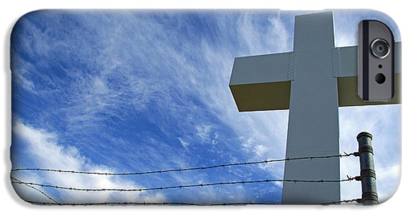 Crucifixtion iPhone Cases - Jumonville Cross -- The Crucifixion of Christ iPhone Case by Cora Wandel