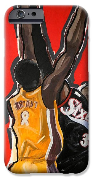 Kobe Paintings iPhone Cases - Jumpball iPhone Case by Patrick Ficklin