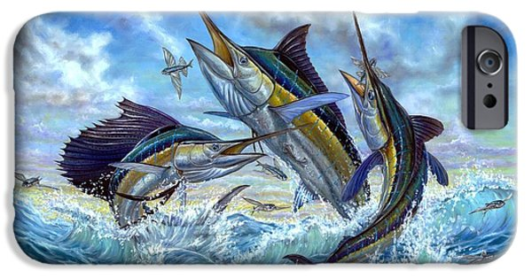 Sailfish Paintings iPhone Cases - Jumping Grand Slam And Flyingfish iPhone Case by Terry  Fox