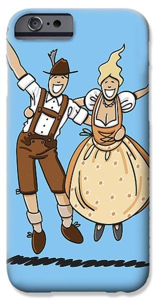 Ramspott iPhone Cases - Jumping Oktoberfest Lovers iPhone Case by Frank Ramspott