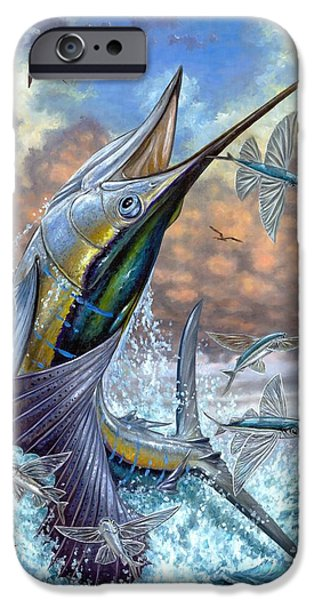 Jumping Sailfish And Flying Fishes iPhone Case by Terry Fox