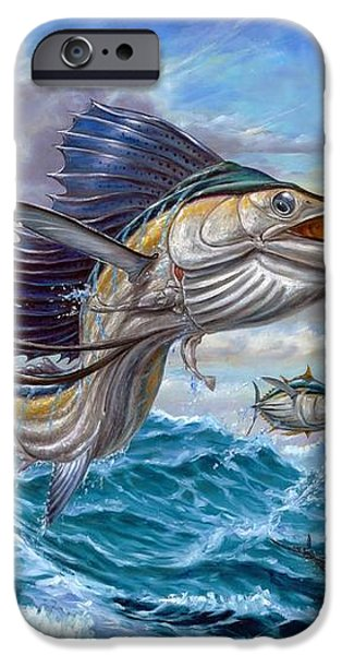 Jumping Sailfish And Small Fish iPhone Case by Terry Fox