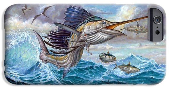 Sailfish Paintings iPhone Cases - Jumping Sailfish And Small Fish iPhone Case by Terry Fox