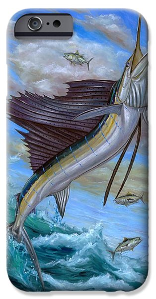Sailfish Paintings iPhone Cases - Jumping Sailfish iPhone Case by Terry Fox