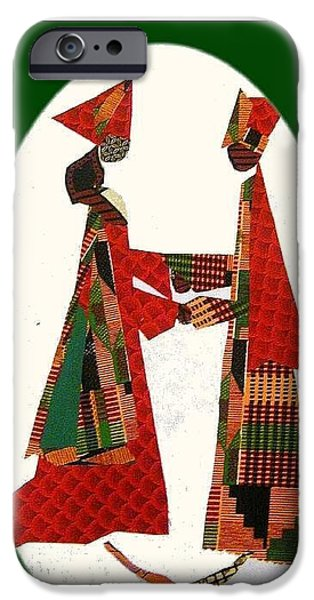 African-americans Tapestries - Textiles iPhone Cases - Jumping the Broom iPhone Case by Ruth Yvonne Ash