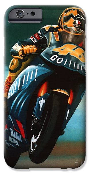 Circuit iPhone Cases - Jumping Valentino Rossi  iPhone Case by Paul  Meijering