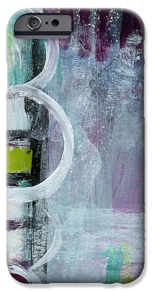 Purple Art iPhone Cases - Junction- Abstract Expressionist Art iPhone Case by Linda Woods