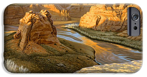National Park Paintings iPhone Cases - Junction Overlook - Canyon DeChelly iPhone Case by Paul Krapf