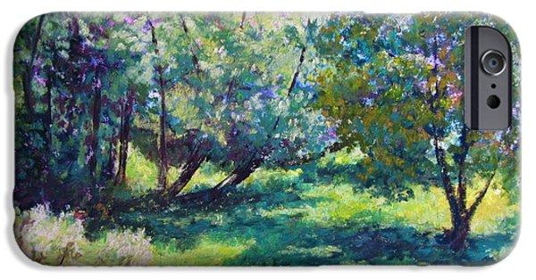 Farm Landscape Pastels iPhone Cases - June Sunlight iPhone Case by Sharon Frey
