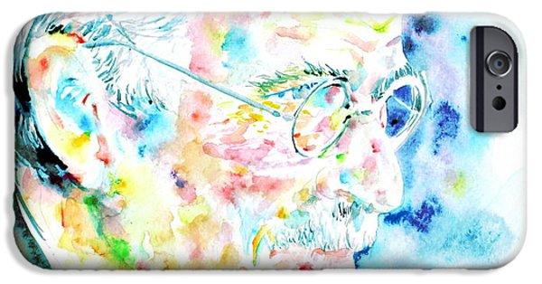 Carl Gustav Jung iPhone Cases - JUNG - watercolor portrait.1 iPhone Case by Fabrizio Cassetta