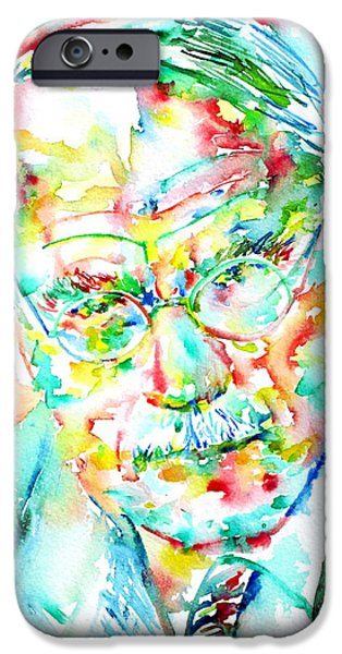 Carl Gustav Jung iPhone Cases - JUNG - watercolor portrait.2 iPhone Case by Fabrizio Cassetta