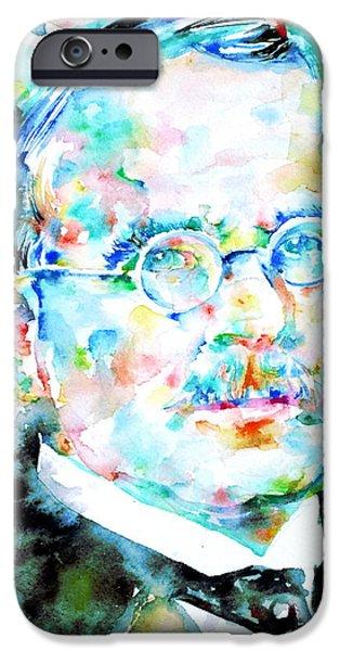 Carl Gustav Jung iPhone Cases - JUNG - watercolor portrait.3 iPhone Case by Fabrizio Cassetta
