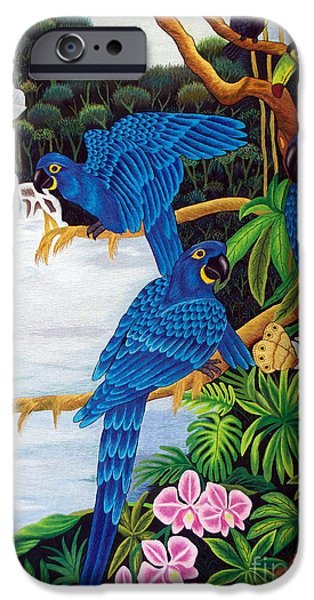 Fall Tapestries - Textiles iPhone Cases - Jungle Chats hand embroidery iPhone Case by To-Tam Gerwe