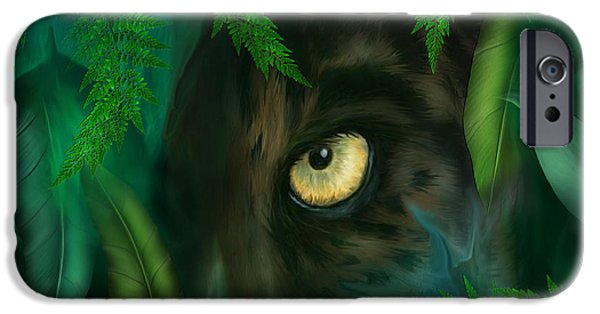 Panther iPhone Cases - Jungle Eyes - Panther iPhone Case by Carol Cavalaris