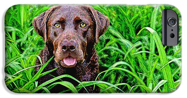 Chocolate Lab Digital Art iPhone Cases - Jungle Jewel iPhone Case by Dale Hall