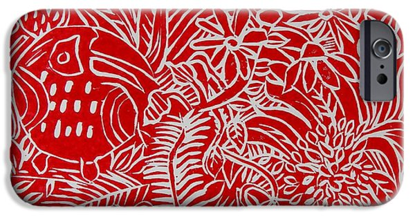 Printmaking Paintings iPhone Cases - Jungle Scene with Toucan Red iPhone Case by Caroline Street