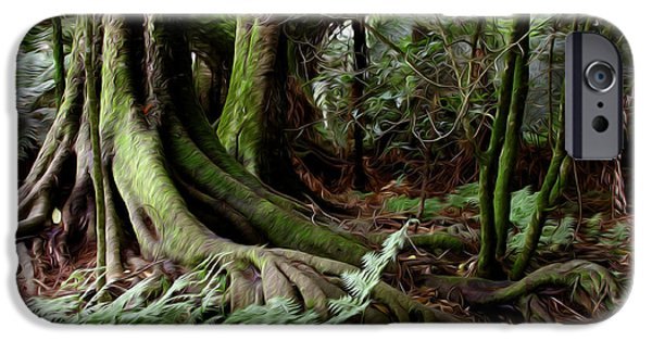 Wetland iPhone Cases - Jungle trunks1 iPhone Case by Les Cunliffe