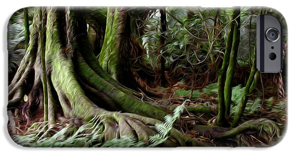 Tree Roots Digital iPhone Cases - Jungle trunks3 iPhone Case by Les Cunliffe