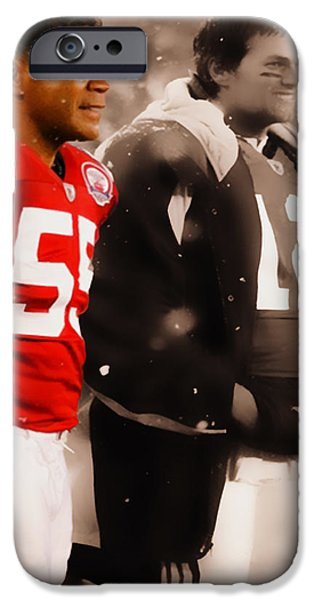 Romo iPhone Cases - Junior Seau and Tom Brady iPhone Case by Brian Reaves