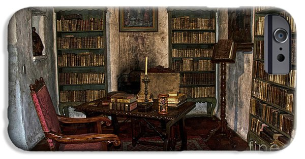 Bookcase iPhone Cases - Junipero Serra library in Carmel Mission iPhone Case by RicardMN Photography