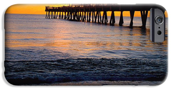 Lighthouse iPhone Cases - Juno Beach pier iPhone Case by Carey Chen
