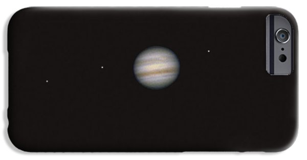 Galilean Moon iPhone Cases - Jupiter And 4 Galilean Moons iPhone Case by John Chumack