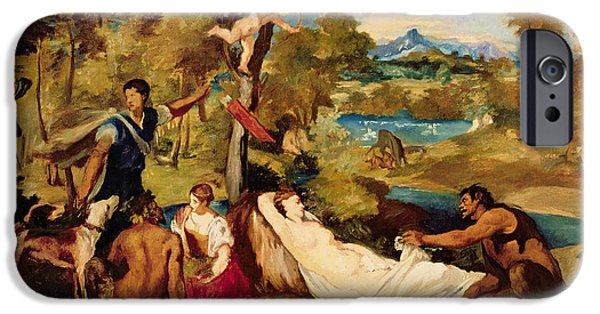 Zeus iPhone Cases - Jupiter And Antiope, 1856 Oil On Canvas iPhone Case by Edouard Manet