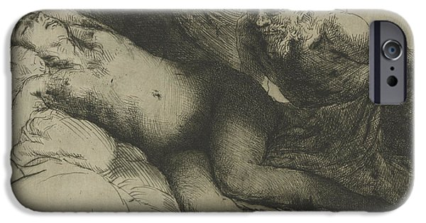 Rembrandt Drawings iPhone Cases - Jupiter and Antiope iPhone Case by Rembrandt