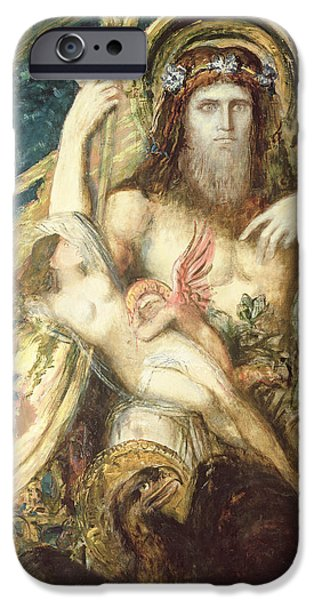 Zeus iPhone Cases - Jupiter And Semele Oil On Canvas iPhone Case by Gustave Moreau