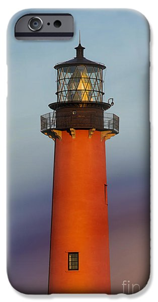 Autumn Scenes Pyrography iPhone Cases - Jupiter Inlet Lighthouse iPhone Case by Dmitry Chernomazov